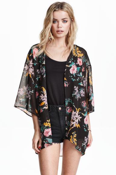 kimono nero fiori h m it. Black Bedroom Furniture Sets. Home Design Ideas