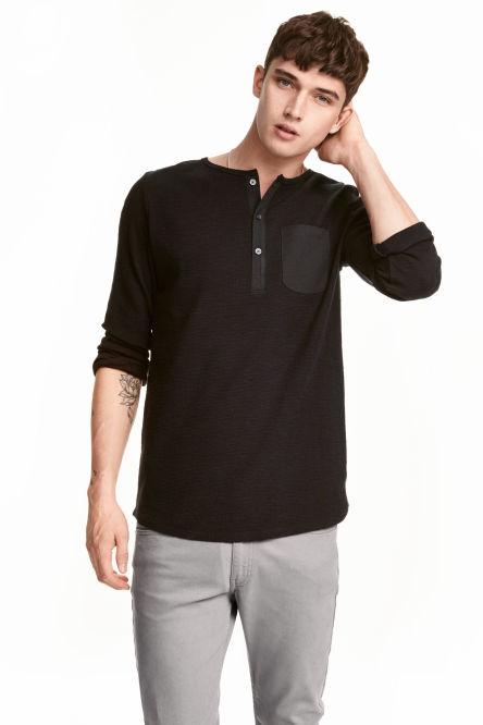 Men 39 s t shirts vests shop the latest trends h m for H m mens henley t shirt long sleeve