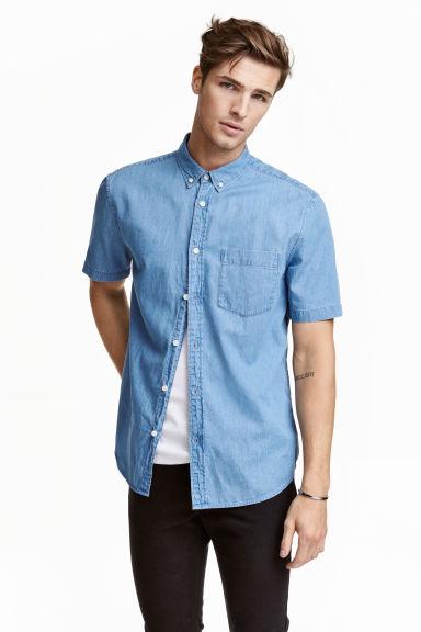 chemise a manches courtes bleu denim clair homme hm fr With tapis chambre bébé avec chemise manche courte homme fleur