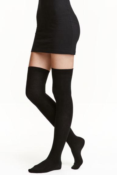 chaussettes hautes noir femme h m fr. Black Bedroom Furniture Sets. Home Design Ideas