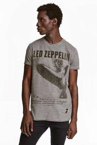 t shirt with a print motif grey led zeppelin men h m gb