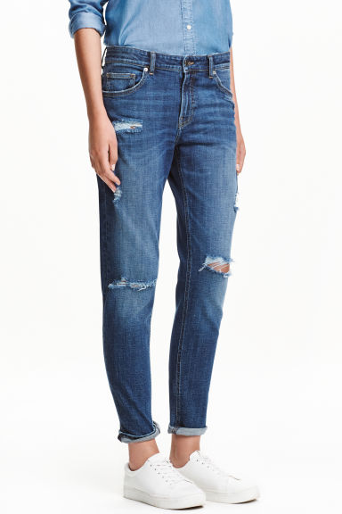girlfriend jeans bleu denim us h m fr. Black Bedroom Furniture Sets. Home Design Ideas