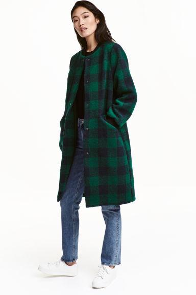 manteau en feutre vert meraude carreaux femme h m fr. Black Bedroom Furniture Sets. Home Design Ideas
