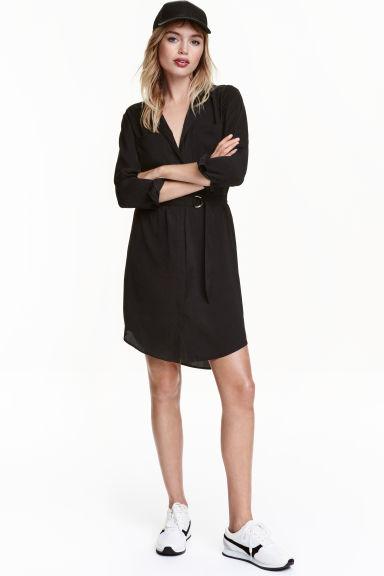 robe chemise en satin noir h m fr. Black Bedroom Furniture Sets. Home Design Ideas