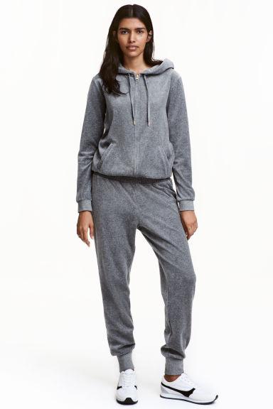 velour jumpsuit grey marl ladies h m gb. Black Bedroom Furniture Sets. Home Design Ideas