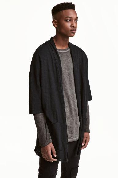 Fine-knit kimono - Black - Men | H&M GB