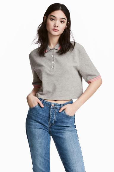 Cropped piqu polo shirt grey marl ladies h m ca for H m polo shirt mens