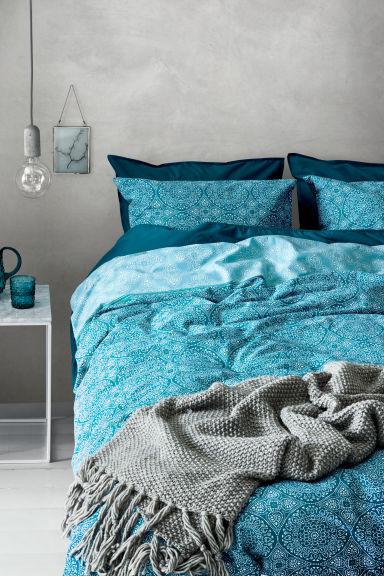 gemusterte bettw sche petrol home h m ch. Black Bedroom Furniture Sets. Home Design Ideas