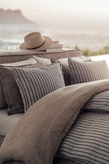 Funda n rdica en lino lavado beige claro rayas home for Fundas nordicas h m