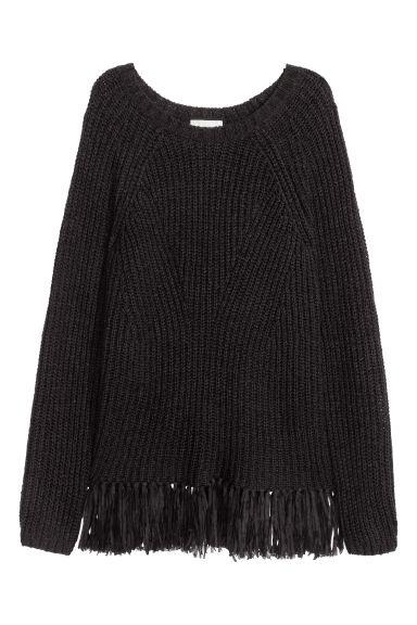 pullover mit fransen schwarz damen h m ch. Black Bedroom Furniture Sets. Home Design Ideas