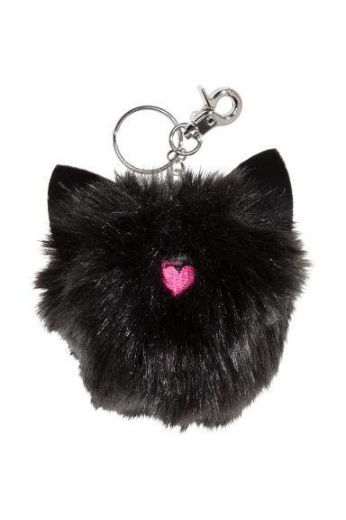 Porte cl s noir chat femme h m fr for Porte cle pompon h m