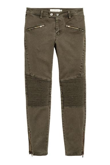pantalon de style motard kaki fonc femme h m fr. Black Bedroom Furniture Sets. Home Design Ideas
