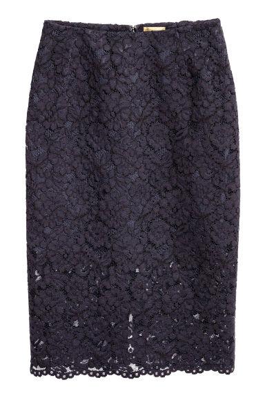 jupe crayon en dentelle bleu fonc femme h m fr. Black Bedroom Furniture Sets. Home Design Ideas
