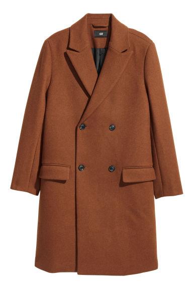 manteau double boutonnage marron homme h m fr. Black Bedroom Furniture Sets. Home Design Ideas
