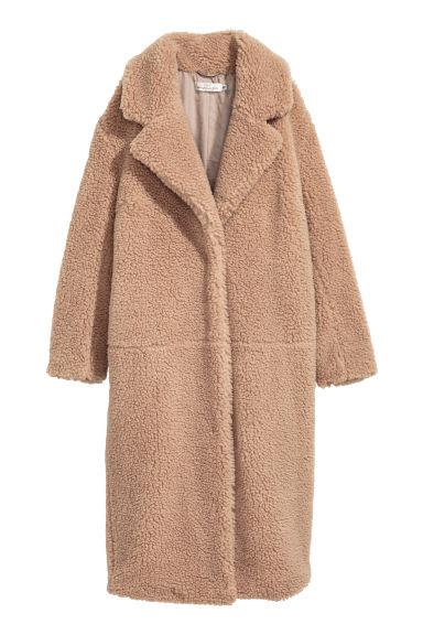 manteau long en peluche beige femme h m fr. Black Bedroom Furniture Sets. Home Design Ideas