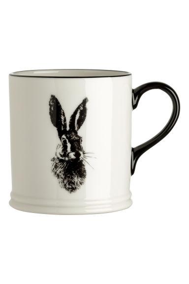 mug en porcelaine motif blanc li vre h m fr. Black Bedroom Furniture Sets. Home Design Ideas
