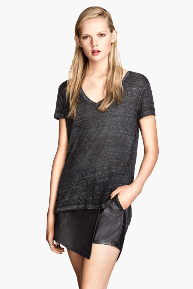 Jersey top - Black marl - Ladies | H&M CN 1