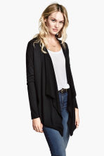 Fine-knit cardigan - Black -  | H&M CN 6