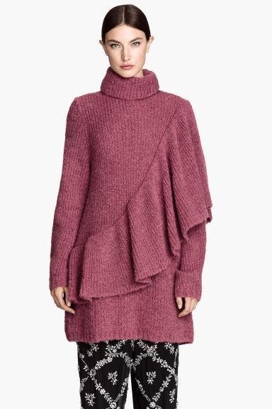 Jersey de cuello alto volantes - Frambuesa - MUJER | H&M ES 1