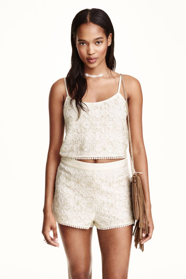 Top in pizzo con perline - Bianco naturale - DONNA | H&M IT 1
