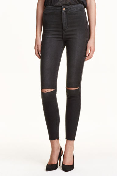 Skinny High Ankle Ripped Jeans - Black - Ladies | H&M GB