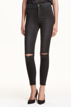 Skinny High Ankle Ripped Jeans - Black - Ladies | H&M GB 1