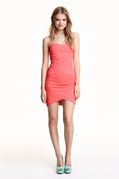 Bandeau dress - Neon coral - Ladies | H&M CN 1