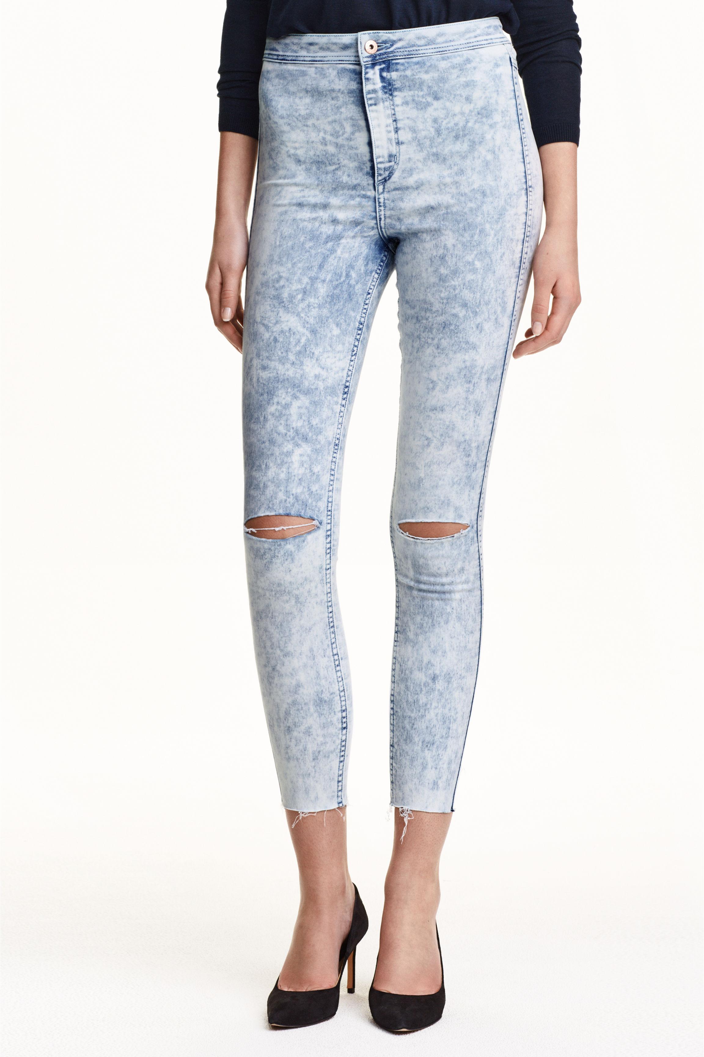 Skinny High Ankle Ripped Jeans - Black - Ladies | H&ampM GB