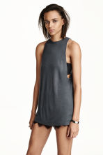 Ribbed sleeveless top - Dark grey - Ladies | H&M CN 1