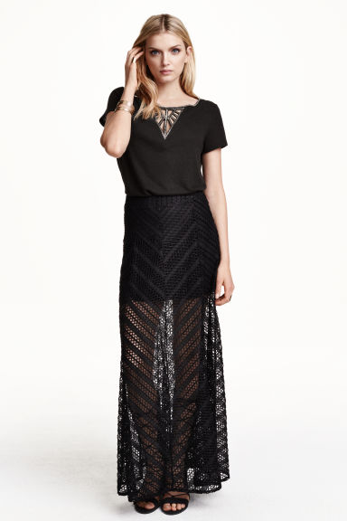 Gonna lunga in pizzo - Nero - DONNA | H&M IT 1