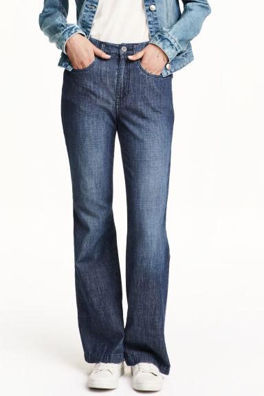 jean taille haute bleu denim fonc femme h m fr. Black Bedroom Furniture Sets. Home Design Ideas