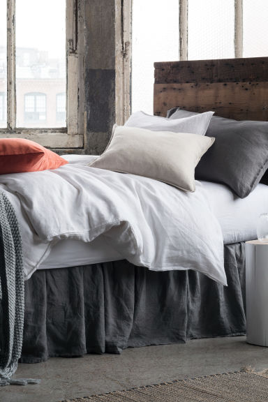Linen fitted sheet - White - Home All | H&M CA 1