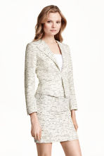 Jacket in a textured weave - White/Striped - Ladies | H&M CN 1