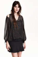 Camicetta in chiffon di seta - Nero - DONNA | H&M IT 1