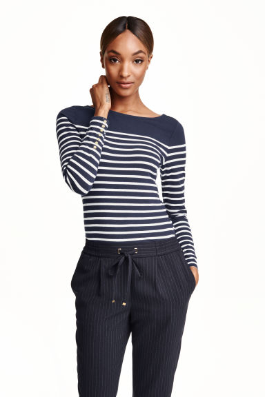 Boat-neck top - Dark blue/Striped - Ladies | H&M GB 1