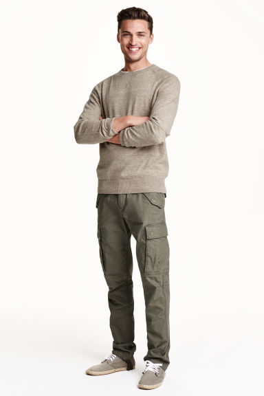 pantalon cargo vert kaki homme h m fr. Black Bedroom Furniture Sets. Home Design Ideas