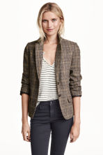 Checked jacket in a wool blend - Brown/Checked - Ladies | H&M GB 1