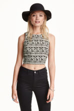 Crop top - Black/White - Ladies | H&M CN 1