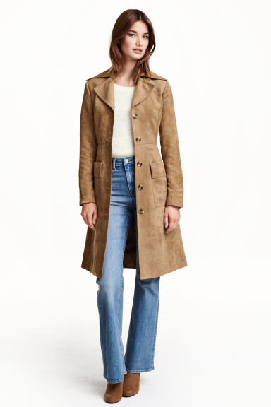 Coat in imitation suede - Beige - Ladies | H&M GB 1