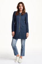 Textured coat - Dark blue - Ladies | H&M CN 1