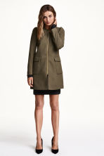 Textured coat - Khaki green -  | H&M GB 1