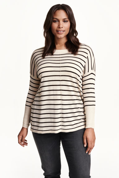 H&M+ Fine-knit jumper - Black/Striped - Ladies | H&M CN 1