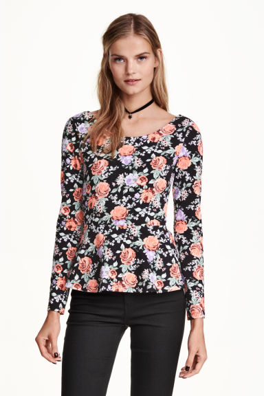 Peplum top - Black/Floral - Ladies | H&M CN 1