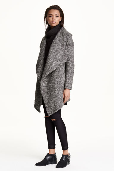 Wool-blend bouclé coat - Grey - Ladies | H&M GB