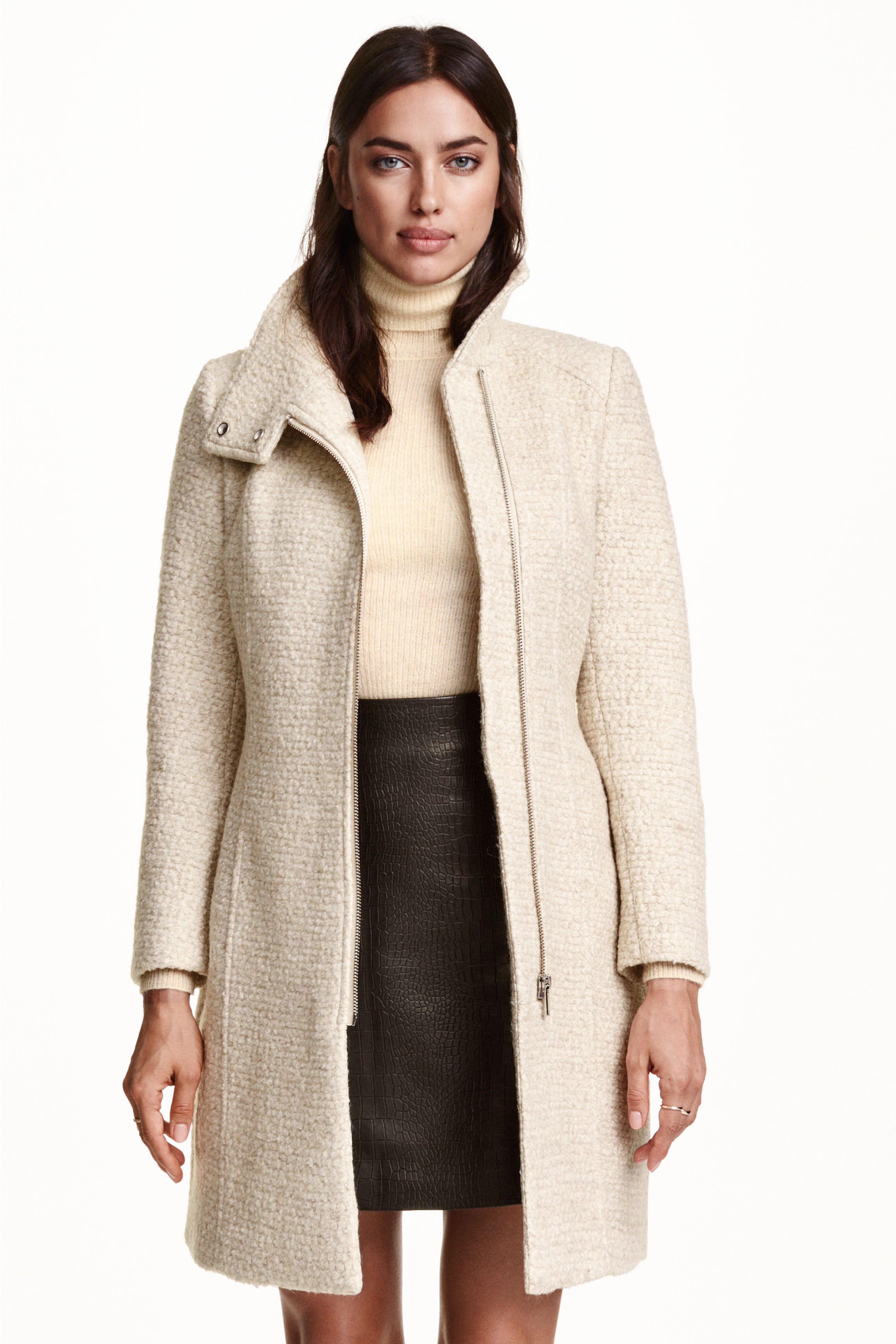 Bouclé wool-blend coat - Dark grey marl - Ladies | H&M GB