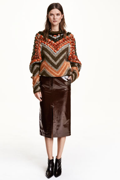 Patent leather skirt - Dark brown - Ladies   H&M GB