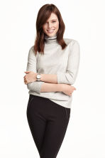 Polo-neck top - Light grey marl - Ladies | H&M CN 1