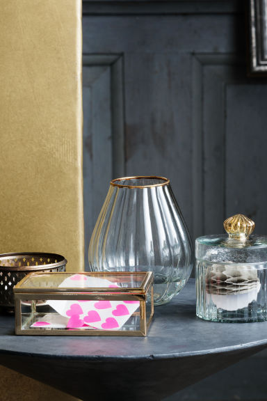 Boîte en verre transparent - Doré - Home All | H&M FR 1
