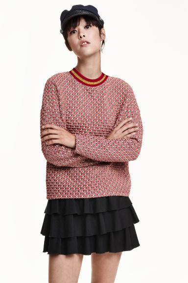 Jacquard-knit jumper - Red/Patterned - Ladies | H&M GB 1