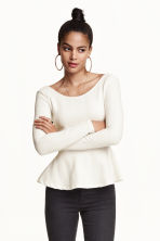 Textured peplum top - White - Ladies | H&M CN 1